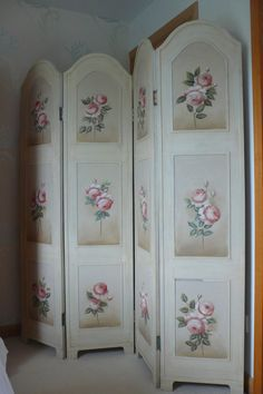 Shabby Chic French Style Floral Paris Rose Folding Screen Room Dividers Display