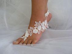 Lace Barefoot Sandals Beach Wedding Sandals Wedding by CeAndBo