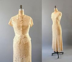 Elegant 1930s All Lace Dress, Wedding Dress, Shear Dress, Vintage Antique Dress  Jordan or Addi