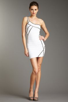 Wow Couture  One Shoulder Bodycon Dress with Stud Trim  $129.00