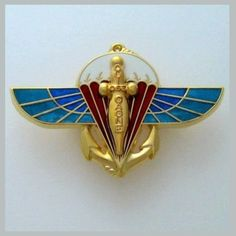 FRENCH PARATROOPERS - 2 RPIMa - GOLD COLOR VERSION BADGE - INFANTRY PARACHUTE