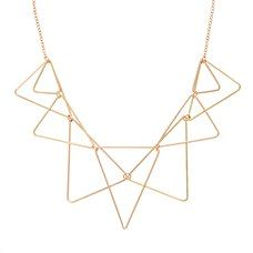 Outlines of triangles are interlinked together to create an architectural affair on this gold toned Helion Necklace
