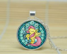MY-LITTLE-PONY-FLUTTERSHY-GLASS-PENDANT-NECKLACE-SILVER-GIFT-BAG-OR-BOX