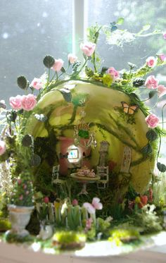 Miniature Teacup Scene The Secret Garden by VintageButterfly66