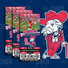 """2.5x6"""" Ole Miss Rebels Sports Party Invitation, NCAA Sports Tickets Invites, Rebels Football Birthday Theme Party by sportsinvites"""