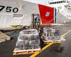 The crew of U.S. Coast Guard Cutter Bertholf (WMSL-750) offloads approximately $126.7 million of seized cocaine and marijuana (7,500 pounds) in San Diego. Patriotic Poems, Coast Guard Cutter, San Diego, United States, Military, Military Man, Army