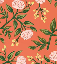 Lovely peony wallpaper. Creamy orange and minty green accents. Would look amazing in a spacious bedroom.