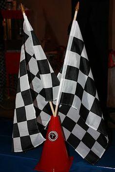 "Pinewood Derby center piece   Buckets of Grace: ""Ta Da! It's My Birthday Party!"" - Ethan"