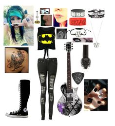 """If I were in a band tag"" by reganbracey ❤ liked on Polyvore featuring Boohoo, Converse and Revolver"