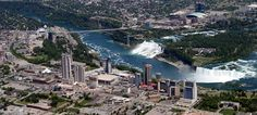 a different perspective of nine famous landmarks (pictured: niagara falls in context, so small!)