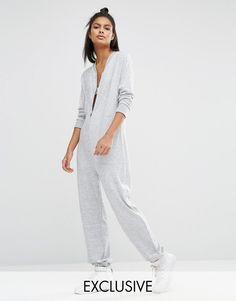 9863f6b8c516cd Imagen 1 de Mono largo de punto con cremallera de Nocozo Grey Jumpsuits,  Asos Shop