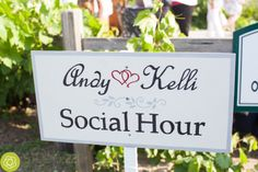 Wedding Sign for social hour on the Orchard Terrace #carloscreekwinery #summerwedding #outdoorsocialhour #weddingsigns