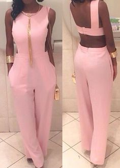 Round Neck Open Back Pink Jumpsuits