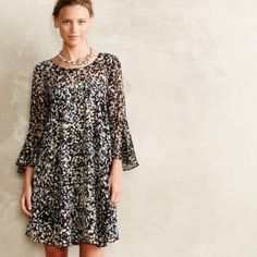 Anthropologie Paper Crown 'Droplets' swing dress Paper crown for Anthropologie cute Droplets Dress! Size XS sold out super fast! Cute swing shape with bell sleeves! Lined! Only worn a handful of times. Anthropologie Dresses Mini