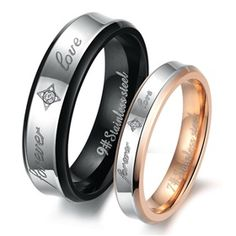 """""""Forever Love"""" Rhinestone CZ Titanium Stainless Steel Mens Ladies Couple Promise Ring Wedding Bands Matching Set ,Best personalized gifts for him or her on Yoyoon.com"""