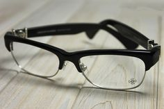 8fb6187a7f CHROME HEARTS LOVE GLOVE BLACK ACETATE AND SILVER METAL CLUBMASTER Glasses  Eyewear Eyeglasses