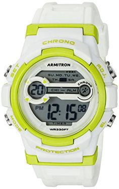 Armitron Sport Unisex 45/7064LGN Lime Green Accented Digital Chronograph White Resin Strap Watch
