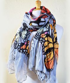 Womens BUTTERFLY Print patterned cotton scarf - women fashion accessories - mariposa on Etsy, Sold