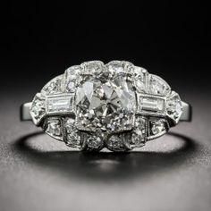 1.60 Carat Diamond and Platinum Art Deco Engagement Ring