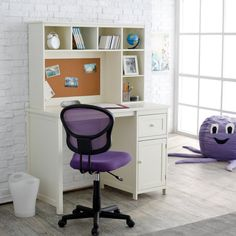 Bedroom Furniture, Bedroom Delightful Decorating Ideas Using A Purple Swivel Chair And White Wooden Student Desk For Bedroom Also With A Cylinder White Dustbin And Rectangular Grey Rug Along ~ Choosing The Right Student Desks For Bedroom Can Increase Your Learning Interest