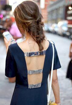Metallic Bow-Back Silk Crepe Dress