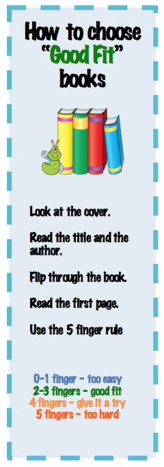 How to choose a 'good fit' book using the 5 finger rule.