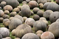 Costa Rica Stone Spheres - One of the strangest mysteries in archaeology was discovered in the Diquis Delta of Costa Rica. Since the 1930s, hundreds of stone balls have been documented, ranging in size from a few centimetres to over two meters in diameter. Some weigh 16 tons. Almost all of them are made of granodiorite, a hard, igneous stone. These objects are monolithic sculptures made by human hands.
