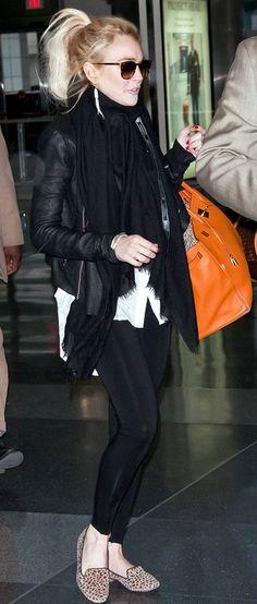 Who made Lindsay Lohan's orange handbag, sunglasses, leopard flat shoes, and black scarf that she wore on April 7, 2011?