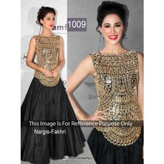 Latest Party Wear Indian Bollywood Replica Nargis In Velvet and Silk Top and Skirt