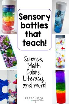 These themed sensory bottles are easy to make, fun for kids to play with, and are sprinkled with lots of benefits that parents, teachers, and even therapists love! Each relates to a specific subject or theme, such as counting, science, color mixing, nature exploration, and more! Preschool Themes, Preschool Learning, Kindergarten Activities, Learning Activities, Teaching, Preschool Teachers, Preschool Science, Sensory Play Recipes, Sensory Activities