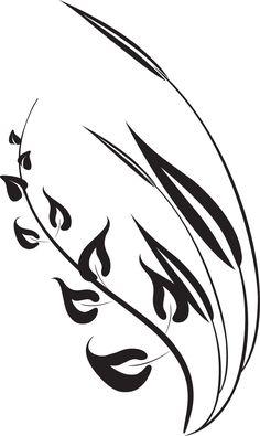 葉っぱの見本画像-白黒・葉っぱ