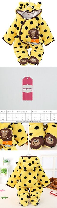 Baby Toddler Winter Oblique Button Open Footies Romper Hoodies Jacket Outfit- Little Monkey for 6-9M
