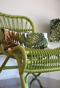 Green rattan chair with tropical palm leaf barkcloth cushion cover. Tropical Design, Tropical Style, Tropical Decor, Tropical Furniture, Cane Furniture, Wicker Furniture, Painted Furniture, Painted Wicker, Green Furniture