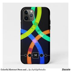 Colorful Abstract Neon and Black Monogram iPhone 11 Pro Case Iphone 11 Pro Case, Iphone Cases, Christmas Card Holders, Plastic Case, Hand Sanitizer, Keep It Cleaner, Holiday Cards, Christmas Decor, Apple Iphone