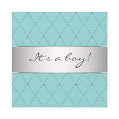Teal Blue Silver Elegant Boy Shower Custom Invitation 1.70/ea