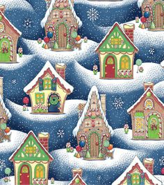 NEW for Mary Engelbreit Christmas Gingerbread Houses Cotton Fabric by YARD Mary Christmas, Christmas Gingerbread House, Christmas Fabric, Christmas Colors, Christmas Art, Christmas Holidays, Gingerbread Houses, Xmas, Christmas Ideas