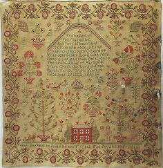 EARLY-19TH-CENTURY-TREE-OF-LIFE-RED-HOUSE-SAMPLER-BY-SARAH-TAYLOR-1832, UK ebay, cockleheart