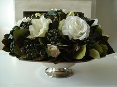 Cake stand with silk flowers