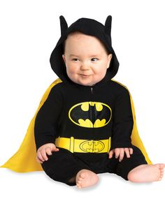 Batman Caped Coverall Baby Costume exclusively at Spirit Halloween - Let your little superhero fly high on Halloween when you dress him in this officially licensed Batman Caped Coverall Baby Costume. Hooded black romper features Batman logo and comes complete with detachable cape. Get this little superhero for $24.99.