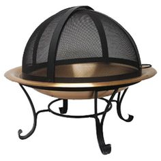 "129.95 marked down from 265.90      * Product: Fire bowl      * Construction Material: Steel and wrought iron      * Color: Copper and black      * Features:            o Hi-temp finish            o Includes screen, log grate, lifting tool and storage cover            o Heavy gauge log grate allows for proper wood burning airflow      * Dimensions: 13"" H x 30"" Diameter"