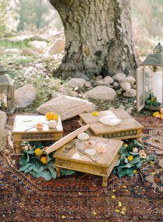 Boho Ground seating http://weddingsparrow.co.uk/2014/07/30/bohemian-bridesmaid-inspiration/