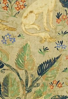 Arden Linen Fabric Pale green Linen fabric with typical 16th century tapestry, woodland scene in coral and Cobalt blue.  Suitable for Curtai...