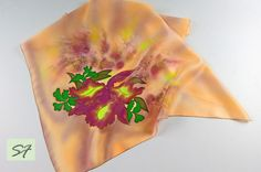 Small Square Silk Satin Scarf Hand Painted with Orchid, Batik Scarf, Silk Gifts for Her, Peachy Burgundy Silk Scarf, Woman Neckerchief Scarf by SilkFantazi on Etsy