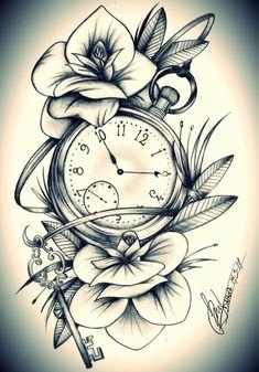 Uhrtattoo - Oberschenkel - My list of the most creative tattoo models Rose Tattoos, Leg Tattoos, Body Art Tattoos, Girl Tattoos, Sleeve Tattoos, Tattoos For Guys, Tattoo Thigh, Flower Tattoos, Clock Tattoo Sleeve