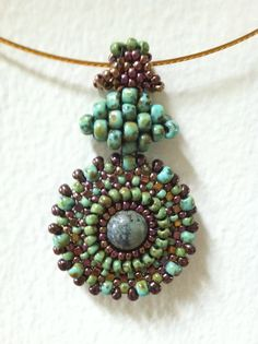 Pendant - seed bead woven