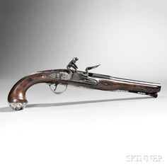 Silver-mounted English Flintlock Pistol Made by Clark c 1771 Flint And Steel, Black Powder Guns, Flintlock Pistol, Long Rifle, Steel Barrel, Firearms, Hand Guns, Weapons, Lineman