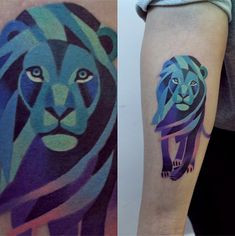 block coloring is pretty cool/ultramodern Remarkable Colored Tattoos by Artist Sasha Unisex - My Modern Metropolis