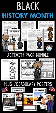Learning about influential and inspirational Black Americans has never been more fun! This BUNDLE has a variety of activities to celebrate and learn about six influential African-Americans:  *Bessie Coleman *Benjamin Banneker *Frederick Douglass *George Washington Carver *Mary McLeod Bethune *Thurgood Marshallh