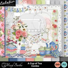 Although themed for the occasions when a cup of tea is perfect this is a very versatile kit, full of lovely elements and beautiful papers. See the layout example of a few ways in which this kit can be used. Enjoy! All 300 ppi for good printing. Most elements come in 2 forms, with drop shadow and without.