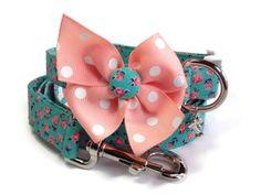 Vintage Style Floral Aqua Peach  Dog Leash Set by jeanamichelle, $36.00